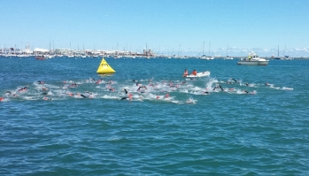 Men 45-49 Swim Shortened to 750m