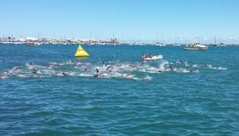 Men 45-49 Swim Shortened to 750m